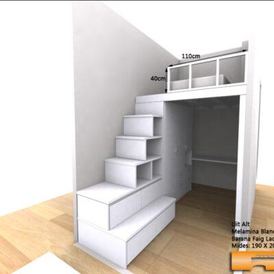 altillo a medida cama con vestidor habitacion juvenil Sandra Barcelona